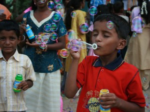 Satish blowing bubbles at Bethel